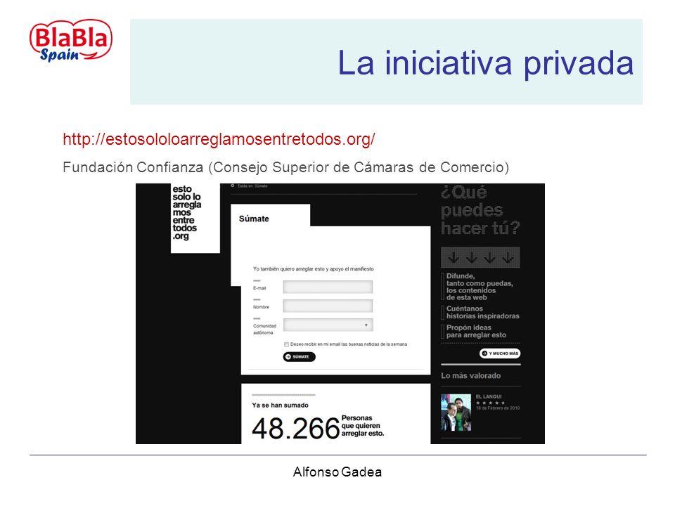 Alfonso Gadea La iniciativa privada http://estosololoarreglamosentretodos.org/ Fundación Confianza (Consejo Superior de Cámaras de Comercio)