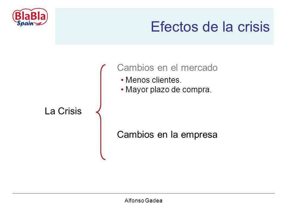 Alfonso Gadea Efectos de la crisis La Crisis Cambios en el mercado Menos clientes.