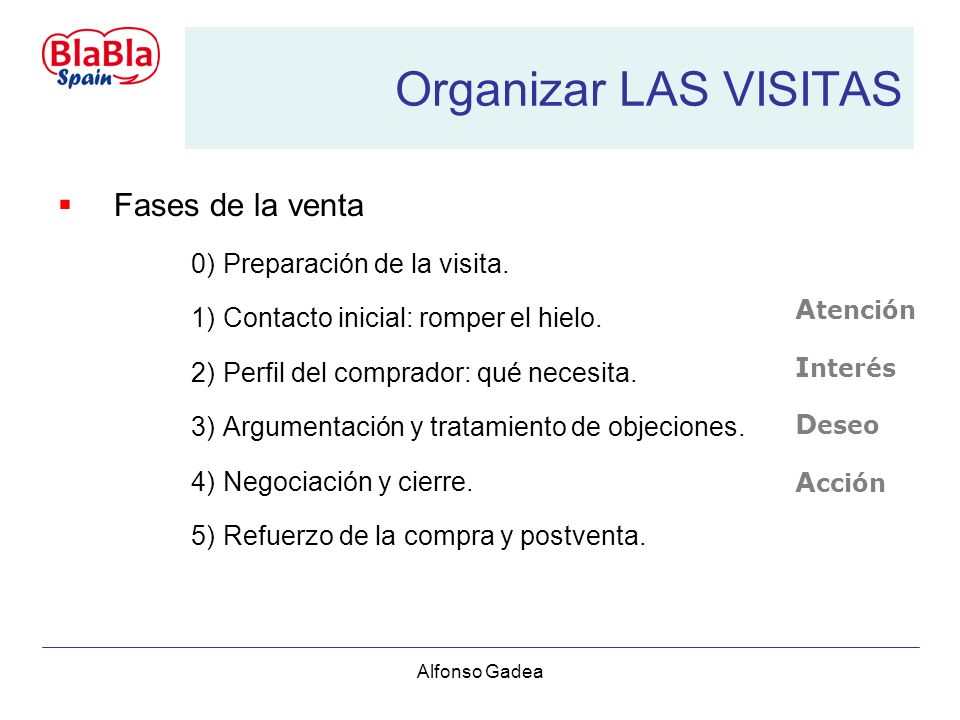 Alfonso Gadea Organizar LAS VISITAS A tención I nterés D eseo A cción Fases de la venta 0)Preparación de la visita.