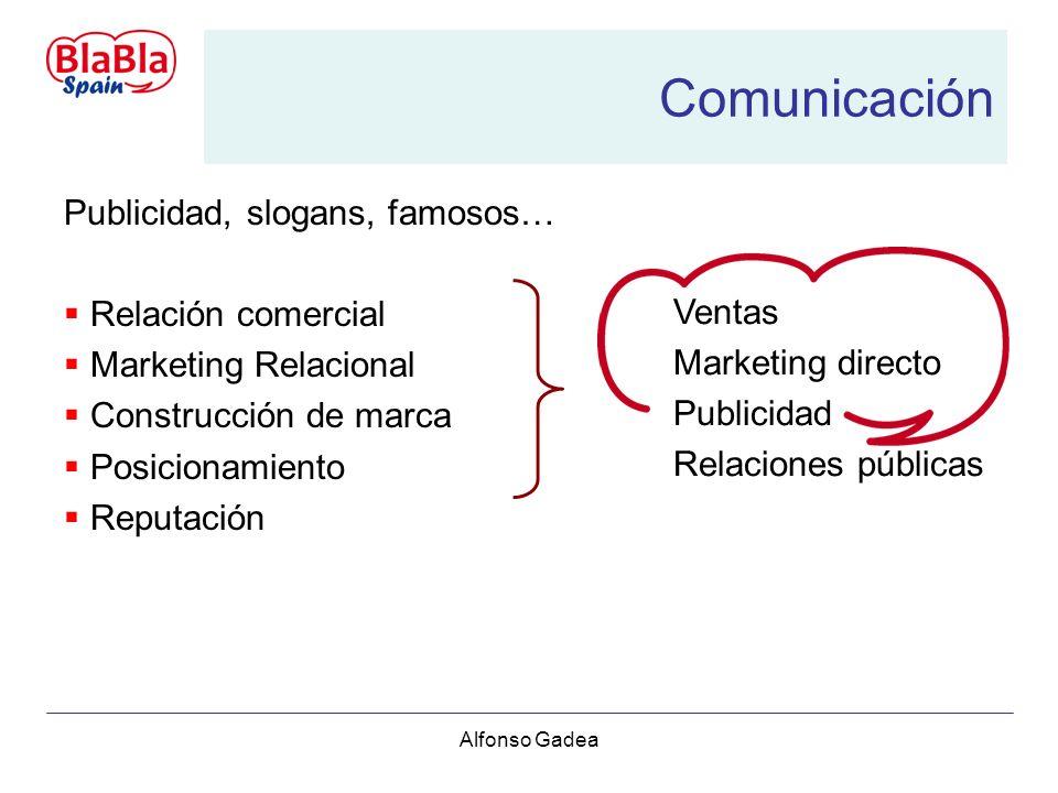 Alfonso Gadea Comunicación Publicidad, slogans, famosos… Relación comercial Marketing Relacional Construcción de marca Posicionamiento Reputación Ventas Marketing directo Publicidad Relaciones públicas