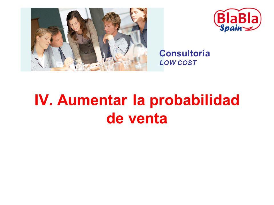 IV. Aumentar la probabilidad de venta Consultoría LOW COST