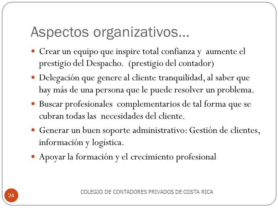 Aspectos organizativos… Crear un equipo que inspire total confianza y aumente el prestigio del Despacho. (prestigio del contador) Delegación que gener