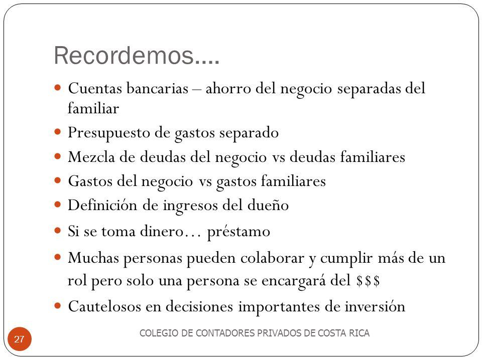 Recordemos…. COLEGIO DE CONTADORES PRIVADOS DE COSTA RICA 27 Cuentas bancarias – ahorro del negocio separadas del familiar Presupuesto de gastos separ