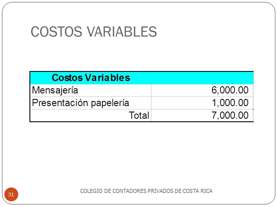 COSTOS VARIABLES COLEGIO DE CONTADORES PRIVADOS DE COSTA RICA 31
