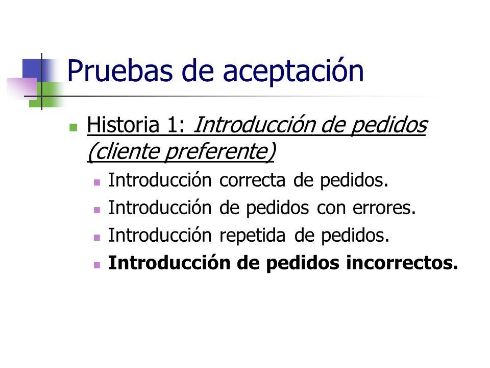Pruebas de aceptación Historia 1: Introducción de pedidos (cliente preferente) Introducción correcta de pedidos. Introducción de pedidos con errores.