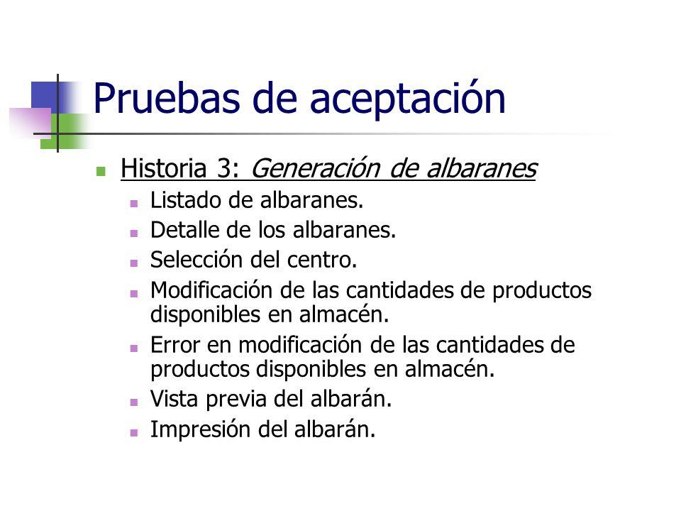 Pruebas de aceptación Historia 3: Generación de albaranes Listado de albaranes. Detalle de los albaranes. Selección del centro. Modificación de las ca