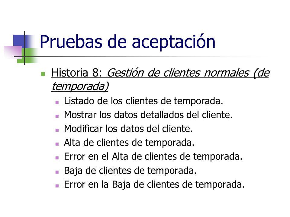 Pruebas de aceptación Historia 8: Gestión de clientes normales (de temporada) Listado de los clientes de temporada. Mostrar los datos detallados del c
