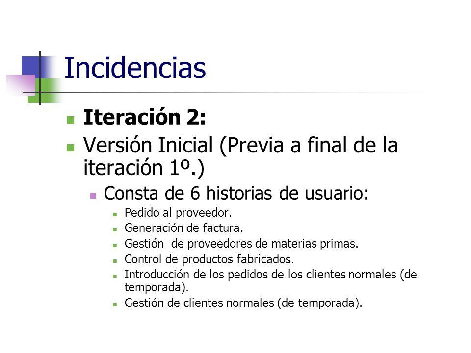 Incidencias Iteración 2: Versión Inicial (Previa a final de la iteración 1º.) Consta de 6 historias de usuario: Pedido al proveedor. Generación de fac
