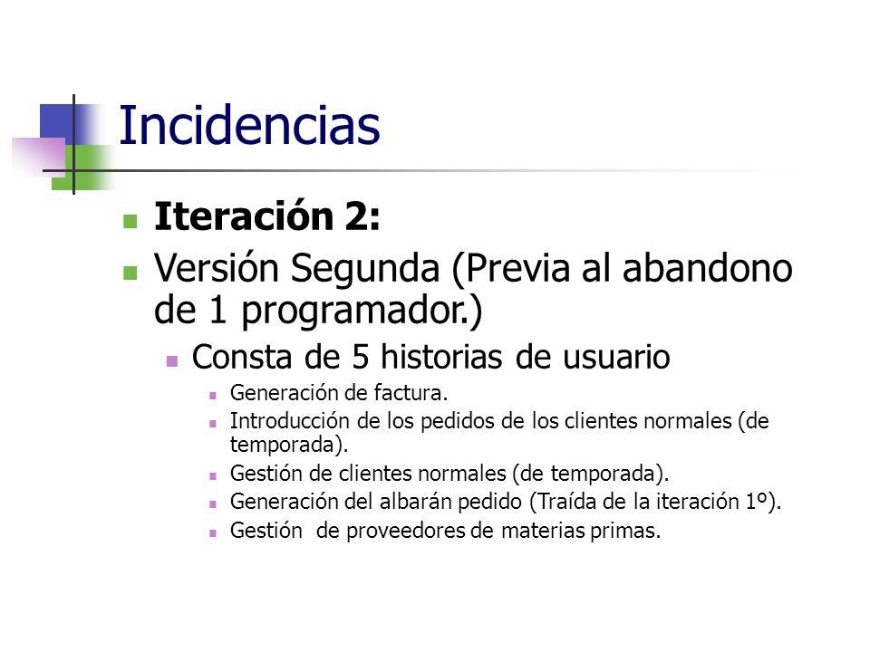 Incidencias Iteración 2: Versión Segunda (Previa al abandono de 1 programador.) Consta de 5 historias de usuario Generación de factura. Introducción d