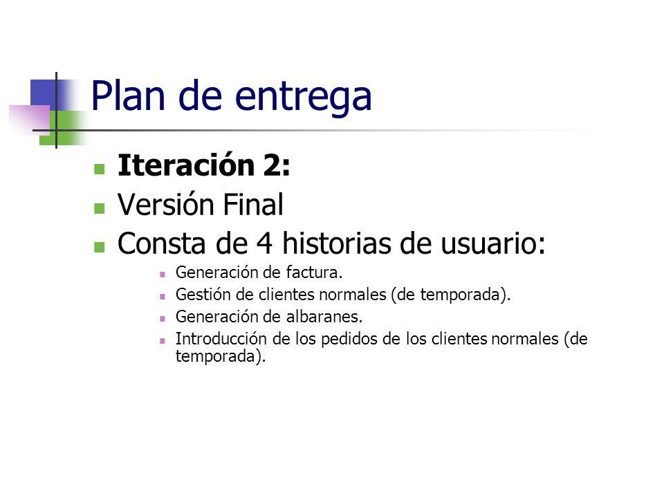 Plan de entrega Iteración 2: Versión Final Consta de 4 historias de usuario: Generación de factura. Gestión de clientes normales (de temporada). Gener