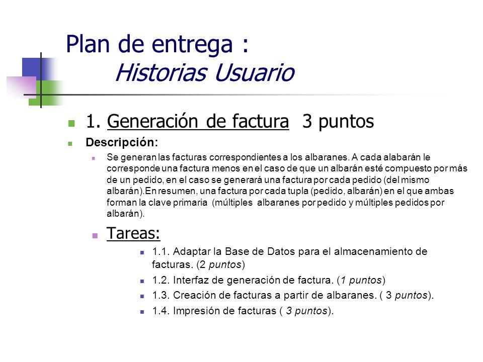 Plan de entrega : Historias Usuario 1. Generación de factura 3 puntos Descripción: Se generan las facturas correspondientes a los albaranes. A cada al