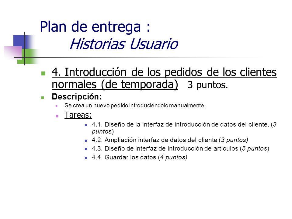 Plan de entrega : Historias Usuario 4. Introducción de los pedidos de los clientes normales (de temporada) 3 puntos. Descripción: Se crea un nuevo ped