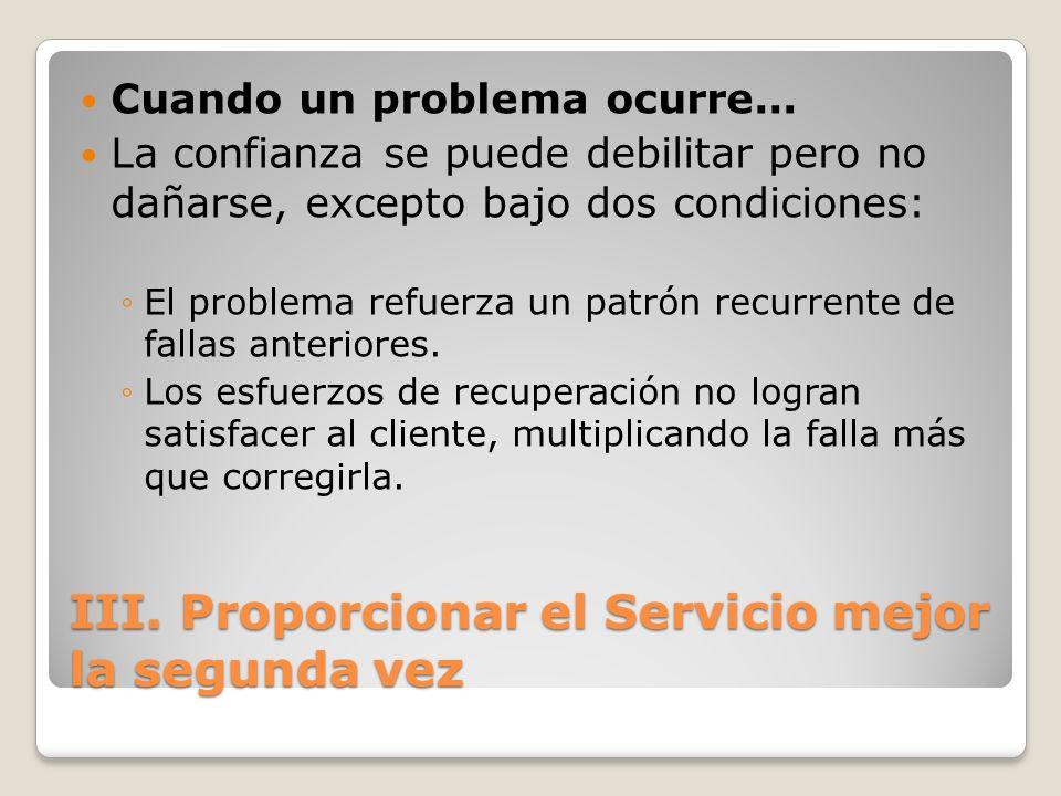 III. Proporcionar el Servicio mejor la segunda vez Cuando un problema ocurre... La confianza se puede debilitar pero no dañarse, excepto bajo dos cond
