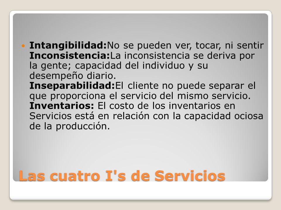 Las cuatro I's de Servicios Intangibilidad:No se pueden ver, tocar, ni sentir Inconsistencia:La inconsistencia se deriva por la gente; capacidad del i