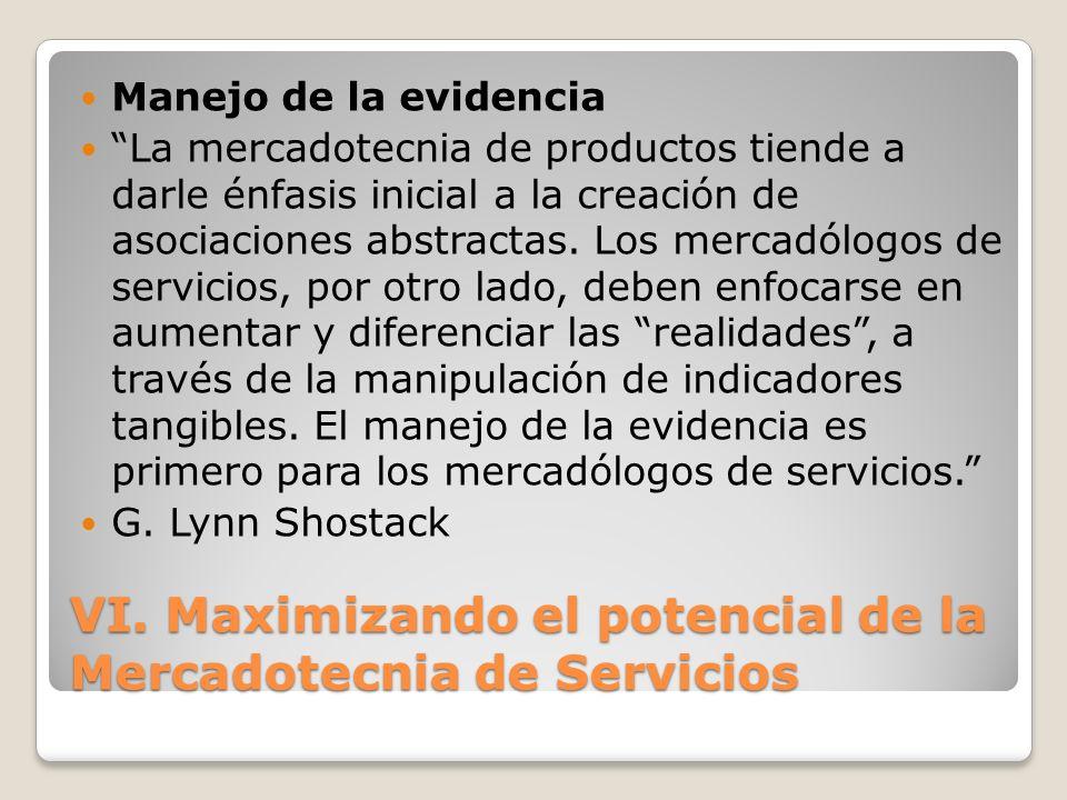 VI. Maximizando el potencial de la Mercadotecnia de Servicios Manejo de la evidencia La mercadotecnia de productos tiende a darle énfasis inicial a la