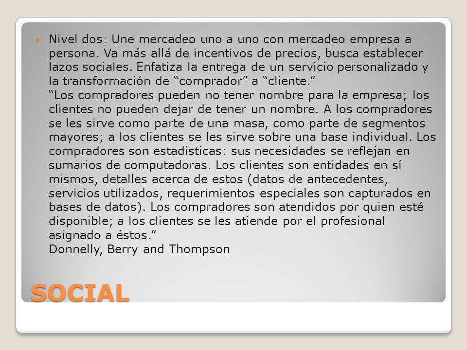 SOCIAL Nivel dos: Une mercadeo uno a uno con mercadeo empresa a persona. Va más allá de incentivos de precios, busca establecer lazos sociales. Enfati