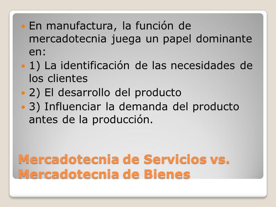 Mercadotecnia de Servicios vs. Mercadotecnia de Bienes En manufactura, la función de mercadotecnia juega un papel dominante en: 1) La identificación d