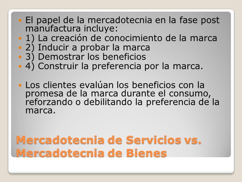 Mercadotecnia de Servicios vs. Mercadotecnia de Bienes El papel de la mercadotecnia en la fase post manufactura incluye: 1) La creación de conocimient