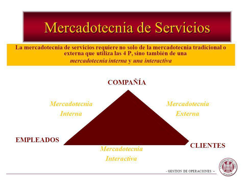 - GESTION DE OPERACIONES – Mercadotecnia de Servicios La mercadotecnia de servicios requiere no solo de la mercadotecnia tradicional o externa que uti