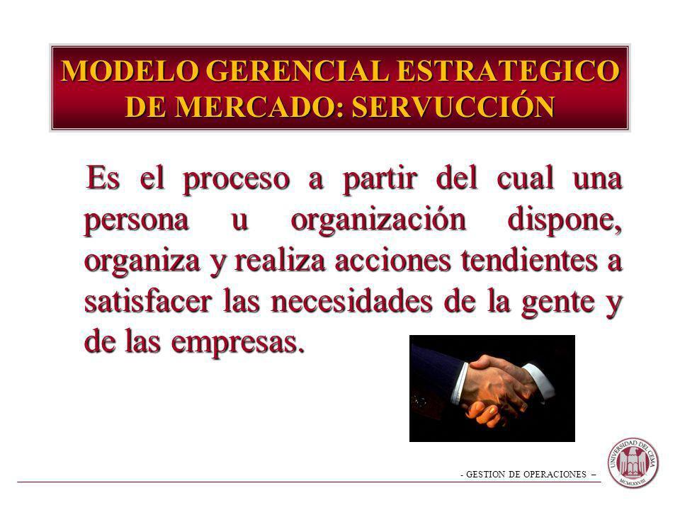 - GESTION DE OPERACIONES – MODELO GERENCIAL ESTRATEGICO DE MERCADO: SERVUCCIÓN Es el proceso a partir del cual una persona u organización dispone, org