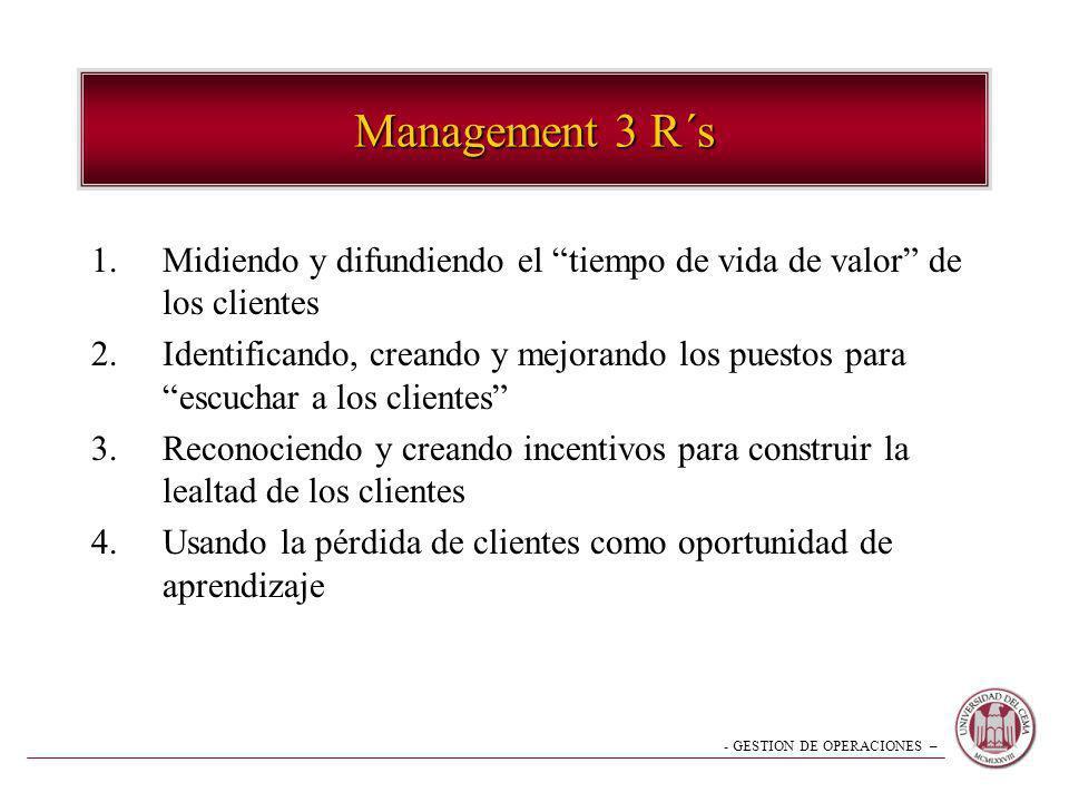 - GESTION DE OPERACIONES – Management 3 R´s 1.Midiendo y difundiendo el tiempo de vida de valor de los clientes 2.Identificando, creando y mejorando l