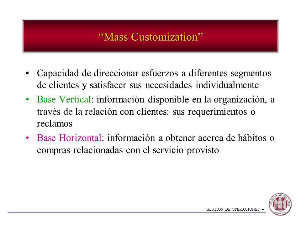 - GESTION DE OPERACIONES – Mass Customization Capacidad de direccionar esfuerzos a diferentes segmentos de clientes y satisfacer sus necesidades indiv
