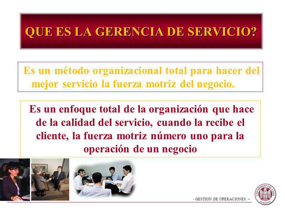 - GESTION DE OPERACIONES – QUE ES LA GERENCIA DE SERVICIO? Es un método organizacional total para hacer del mejor servicio la fuerza motriz del negoci