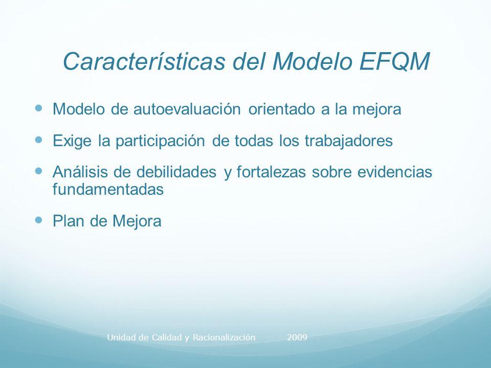 Características del Modelo EFQM Modelo de autoevaluación orientado a la mejora Exige la participación de todas los trabajadores Análisis de debilidades y fortalezas sobre evidencias fundamentadas Plan de Mejora Unidad de Calidad y Racionalización 2009