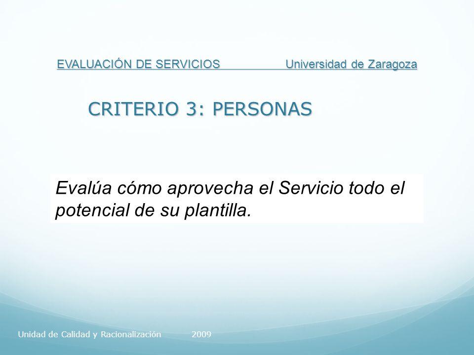 EVALUACIÓN DE SERVICIOS Universidad de Zaragoza CRITERIO 3: PERSONAS Evalúa cómo aprovecha el Servicio todo el potencial de su plantilla.