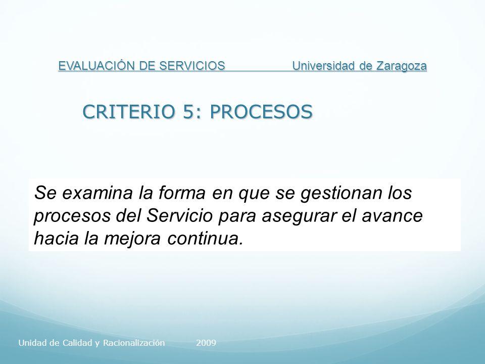 EVALUACIÓN DE SERVICIOS Universidad de Zaragoza CRITERIO 5: PROCESOS Se examina la forma en que se gestionan los procesos del Servicio para asegurar el avance hacia la mejora continua.