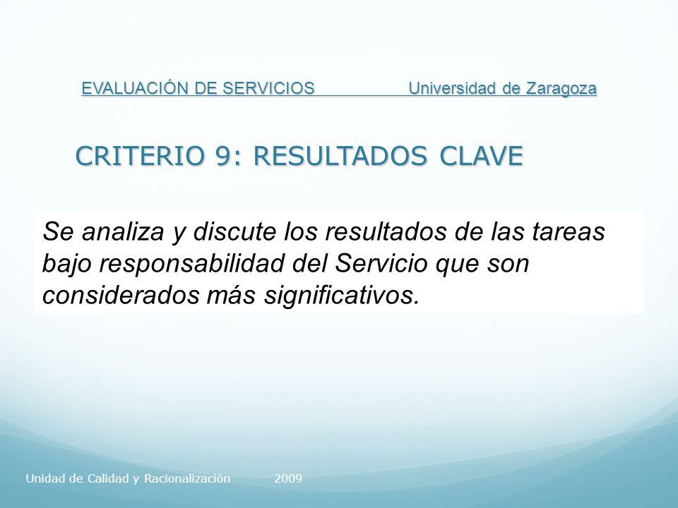 EVALUACIÓN DE SERVICIOS Universidad de Zaragoza CRITERIO 9: RESULTADOS CLAVE Se analiza y discute los resultados de las tareas bajo responsabilidad del Servicio que son considerados más significativos.