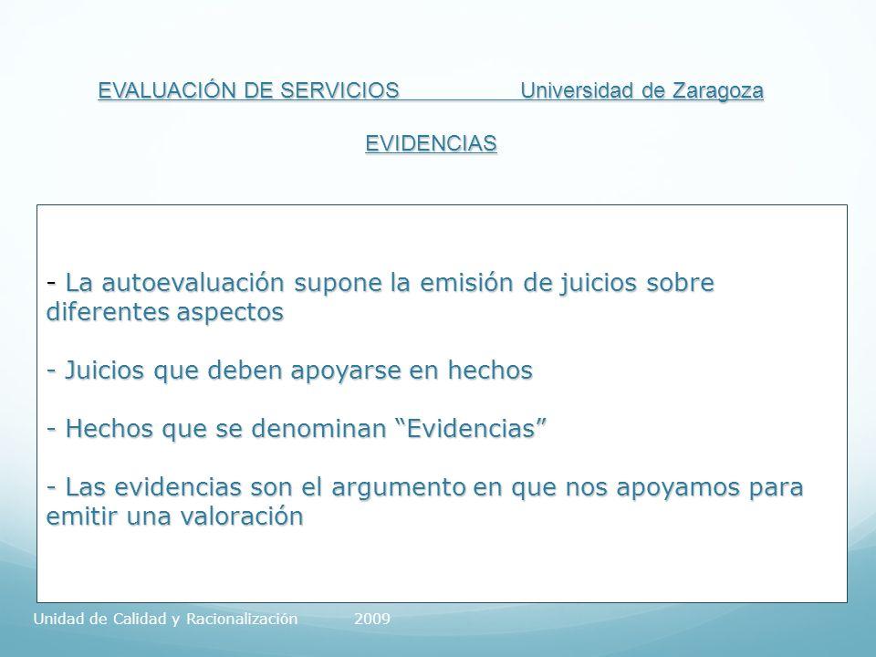 EVALUACIÓN DE SERVICIOS Universidad de Zaragoza EVIDENCIAS - La autoevaluación supone la emisión de juicios sobre diferentes aspectos - Juicios que deben apoyarse en hechos - Hechos que se denominan Evidencias - Las evidencias son el argumento en que nos apoyamos para emitir una valoración Unidad de Calidad y Racionalización 2009