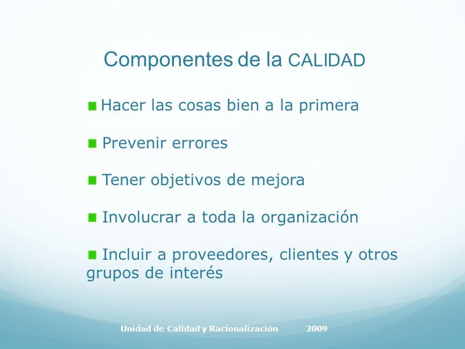 Componentes de la CALIDAD Hacer las cosas bien a la primera Prevenir errores Tener objetivos de mejora Involucrar a toda la organización Incluir a proveedores, clientes y otros grupos de interés Unidad de Calidad y Racionalización 2009