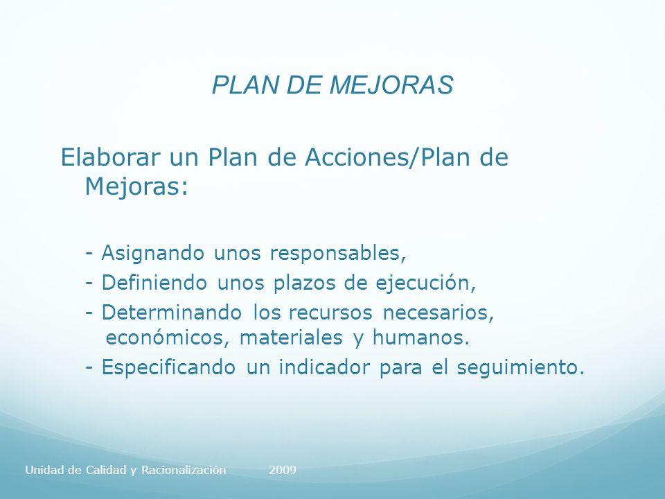 PLAN DE MEJORAS Elaborar un Plan de Acciones/Plan de Mejoras: - Asignando unos responsables, - Definiendo unos plazos de ejecución, - Determinando los recursos necesarios, económicos, materiales y humanos.