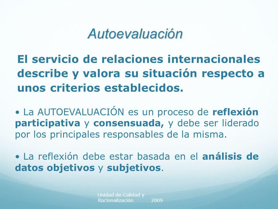 EVALUACIÓN DE SERVICIOS Universidad de Zaragoza Grado de ajuste con las prácticas de gestión que sugiere el modelo (EFQM) Grado de ajuste con las prácticas de gestión que sugiere el modelo (EFQM) Lo deseable es que los servicios adapten sus actividades de gestión a las propuestas de la EFQM siendo juzgadas por su proximidad al modelo LA CALIDAD SE LOGRA AL TOMAR DECISIONES SOBRE LA EVALUACIÓN AUTOEVALUACIÓN DEL SERVICIO DE RRII Unidad de Calidad y Racionalización 2009