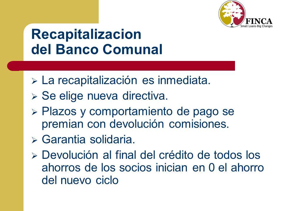 Recapitalizacion del Banco Comunal La recapitalización es inmediata.