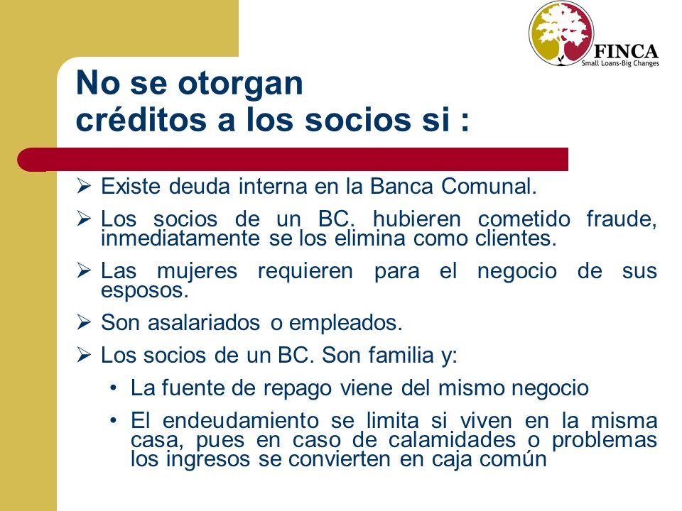 No se otorgan créditos a los socios si : Existe deuda interna en la Banca Comunal.
