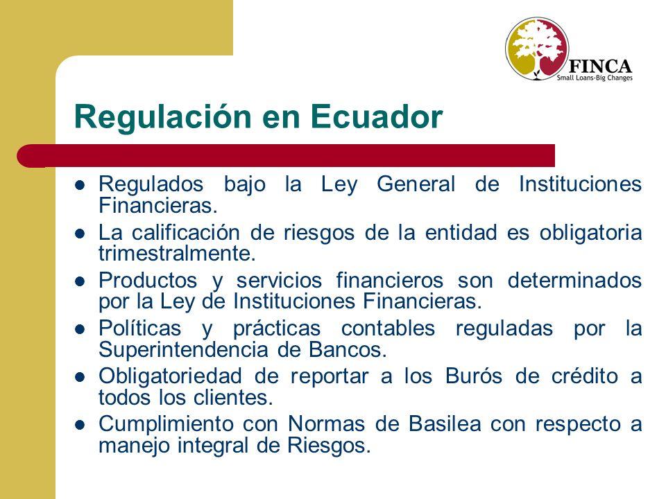 Regulación en Ecuador Regulados bajo la Ley General de Instituciones Financieras.