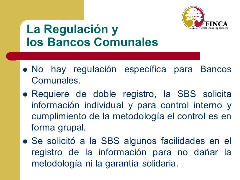 La Regulación y los Bancos Comunales No hay regulación específica para Bancos Comunales.