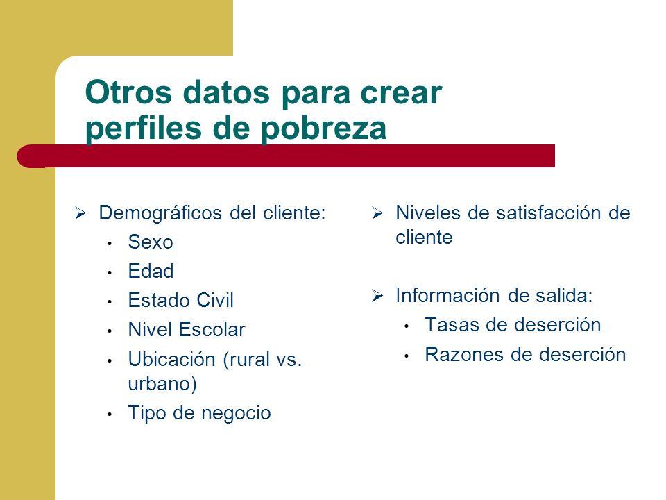 Otros datos para crear perfiles de pobreza Demográficos del cliente: Sexo Edad Estado Civil Nivel Escolar Ubicación (rural vs.