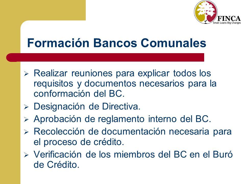 Formación Bancos Comunales Realizar reuniones para explicar todos los requisitos y documentos necesarios para la conformación del BC.