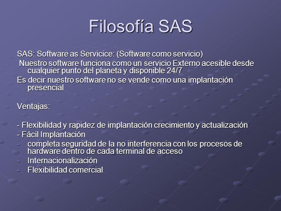 Filosofía SAS SAS: Software as Servicice: (Software como servicio) Nuestro software funciona como un servicio Externo acesible desde cualquier punto del planeta y disponible 24/7 Nuestro software funciona como un servicio Externo acesible desde cualquier punto del planeta y disponible 24/7 Es decir nuestro software no se vende como una implantación presencial Ventajas: - Flexibilidad y rapidez de implantación crecimiento y actualización - Fácil Implantación -completa seguridad de la no interferencia con los procesos de hardware dentro de cada terminal de acceso -Internacionalización -Flexibilidad comercial