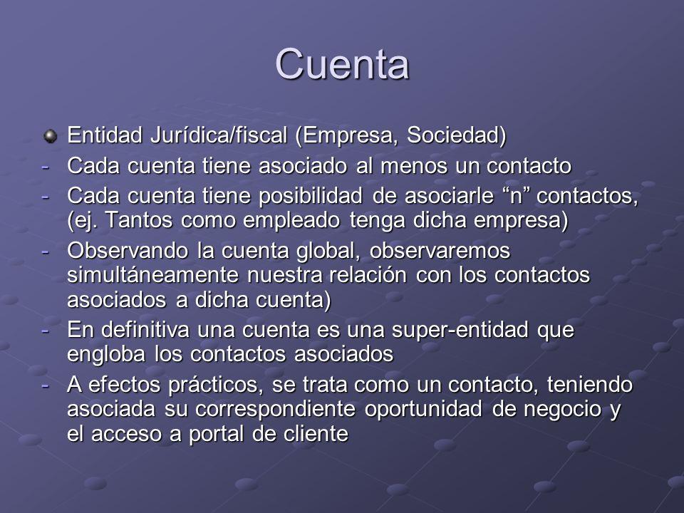 Cuenta Entidad Jurídica/fiscal (Empresa, Sociedad) -Cada cuenta tiene asociado al menos un contacto -Cada cuenta tiene posibilidad de asociarle n contactos, (ej.