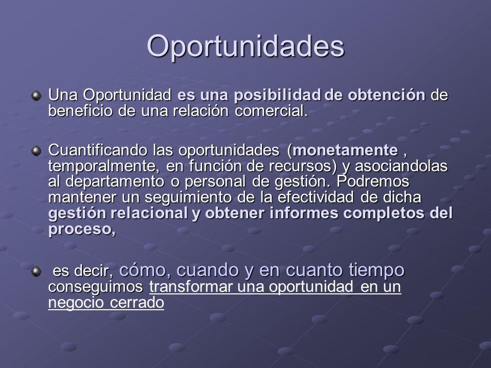 Oportunidades Una Oportunidad es una posibilidad de obtención de beneficio de una relación comercial.