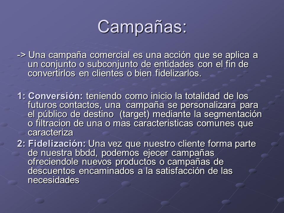 Campañas: -> Una campaña comercial es una acción que se aplica a un conjunto o subconjunto de entidades con el fin de convertirlos en clientes o bien fidelizarlos.