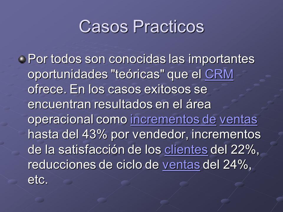 Casos Practicos Por todos son conocidas las importantes oportunidades teóricas que el CRM ofrece.