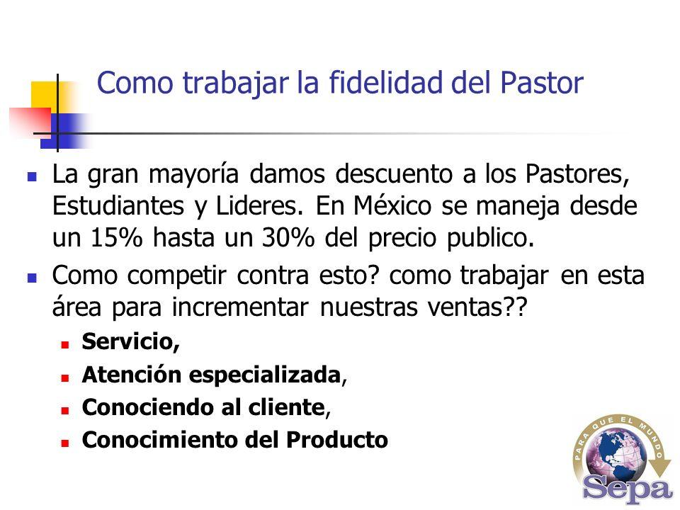 La gran mayoría damos descuento a los Pastores, Estudiantes y Lideres.
