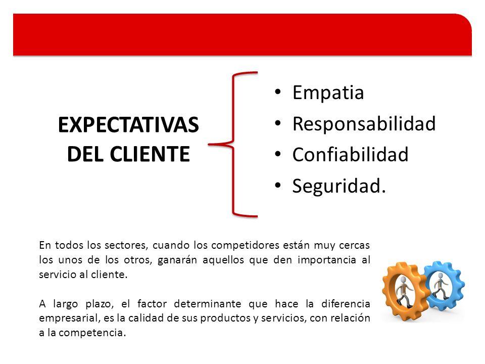 Empatia Responsabilidad Confiabilidad Seguridad. EXPECTATIVAS DEL CLIENTE En todos los sectores, cuando los competidores están muy cercas los unos de