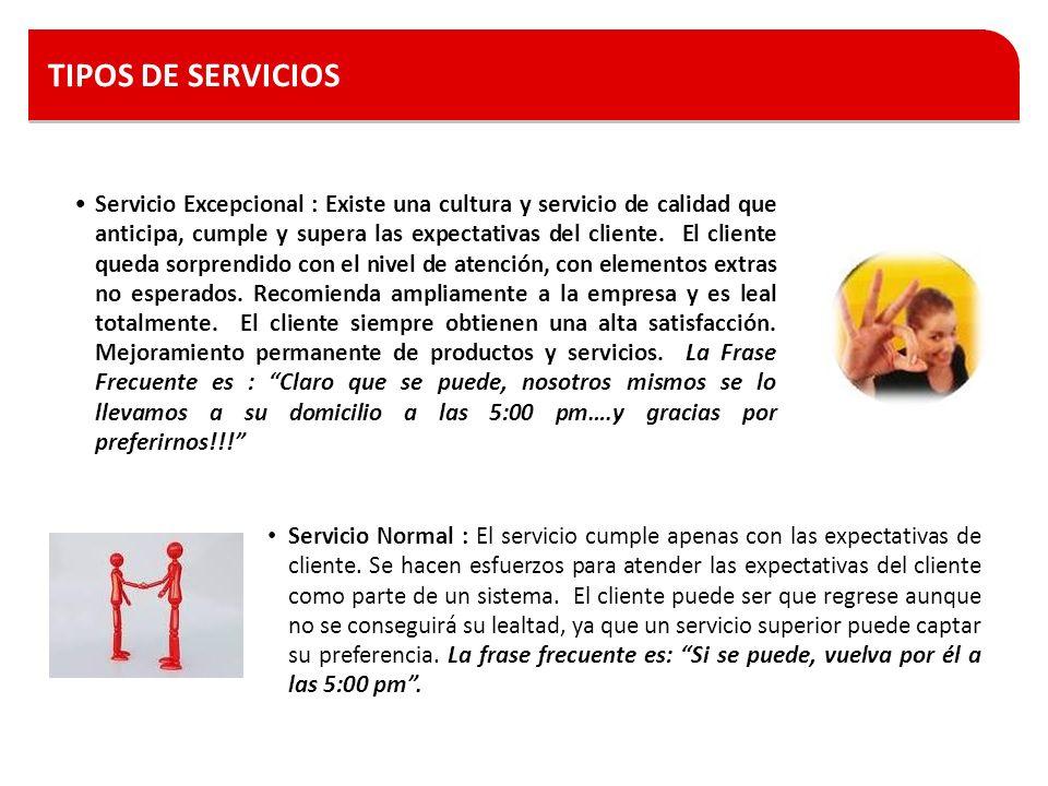 TIPOS DE SERVICIOS Servicio Excepcional : Existe una cultura y servicio de calidad que anticipa, cumple y supera las expectativas del cliente. El clie
