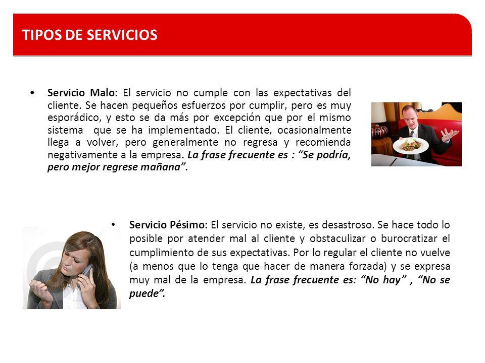 TIPOS DE SERVICIOS Servicio Malo: El servicio no cumple con las expectativas del cliente. Se hacen pequeños esfuerzos por cumplir, pero es muy esporád